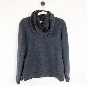 J. Crew Cowl Neck Sweatshirt Pockets Grey Black M